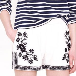 •J.Crew• Embroidered Cotton Gauze Shorts